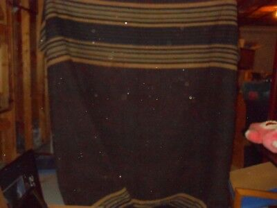 "Antique Horse Hair? WOOL Carriage/Sleigh Throw Lap Blanket 63 X 92"" STRIPED"