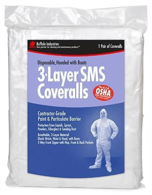 Buffalo 68520 - XXXL 3-Layer SMS Coverall Hooded Paint Suit - 1 Pack Bag