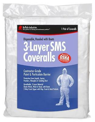Buffalo 68526 - XL 3-Layer SMS Coverall Hooded Paint Suit - 1 Pack Bag