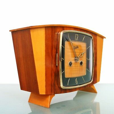 WUBA SCHATZ Mantel CLOCK Multicolour HIGH GLOSS 3 Bar Chime SERVICED Vintage 50s