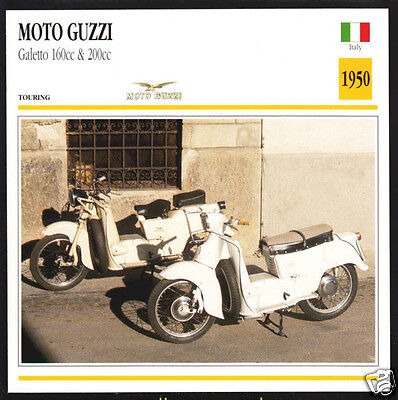 1950 Moto Guzzi Galetto 160cc & 200cc Scooter Moped Motorcycle Photo Spec Card