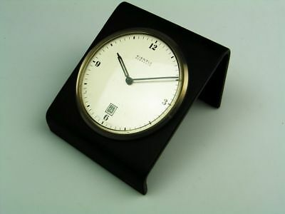 Rare Later Art Deco Bauhaus Deskclock With Leather  Kienzle Everdate Automatic
