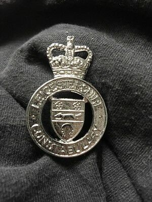 Leicestershire Police British Bobby Police Helmet Cap Piece England Constabulary