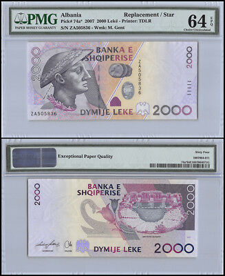 Albania 2,000 (2000) Leke, 2007, P-74a, M. Gent, Replacement/Star, PMG 64