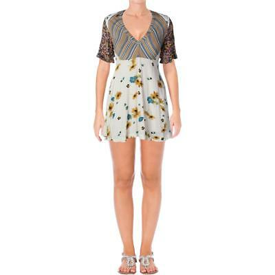 b5a6a4413ad7 Free People Womens Ivory Floral Striped Front Pockets Mini Dress 0 BHFO 6564