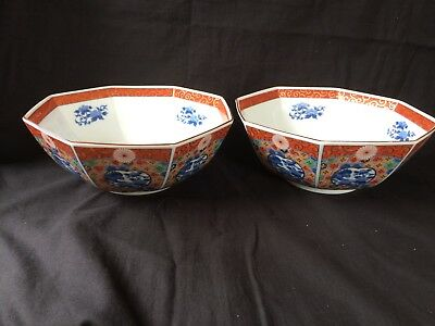 antique chinese porcelain pair of large bowls. Marked bottom