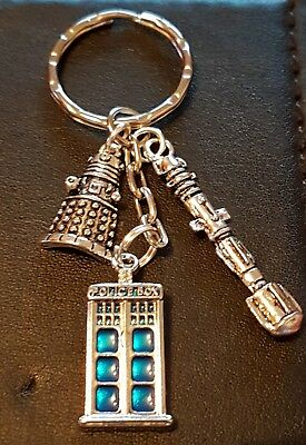 DOCTOR WHO inspired TARDIS, DALEK & SONIC SCREWDRIVER KEYRING FATHERS DAY