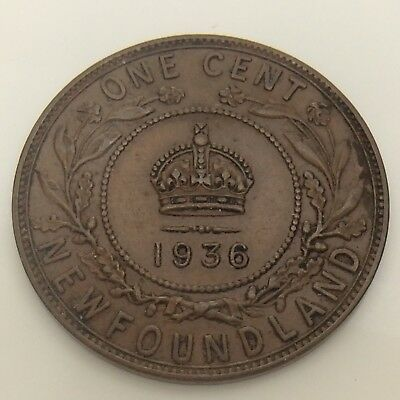 1936 Canada Newfoundland One 1 Cent Large Penny Circulated Canadian Coin F550