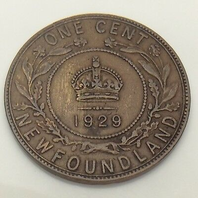 1929 Canada Newfoundland One 1 Cent Large Penny Circulated Canadian Coin F551
