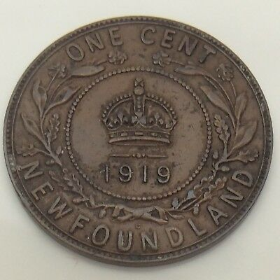 1919 Canada Newfoundland One 1 Cent Large Penny Circulated Canadian Coin F552