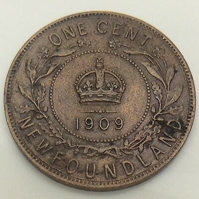 1909 Canada Newfoundland One 1 Cent Large Penny Circulated Canadian Coin F554