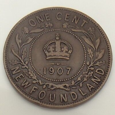 1907 Canada Newfoundland One 1 Cent Large Penny Circulated Canadian Coin F555
