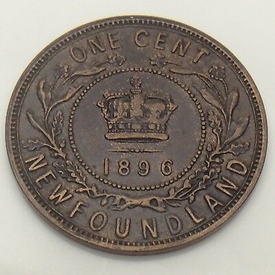 1896 Canada Newfoundland One 1 Cent Large Penny Circulated Canadian Coin F557