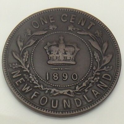 1890 Canada Newfoundland One 1 Cent Large Penny Circulated Canadian Coin F558