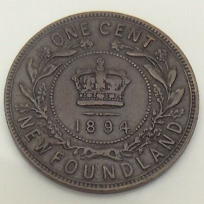 1894 Canada Newfoundland One 1 Cent Large Penny Circulated Canadian Coin F559