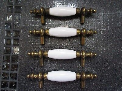 4- KGB Made in TAIWAN Porcelain & Brass Drawer Cabinet Pulls Handles Heavy VTG