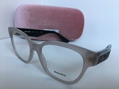 6525d2e07db5 New Miu Miu VMU06O UE2-101 52mm Opal Black Cat Eye Women Eyeglasses Frame