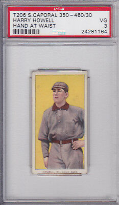 Harry Howell ( Hand at Waist ) 1909 T206 Sweet Caporal Baseball Card PSA 3 VG