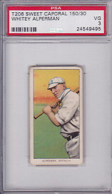 Whitey Alperman 1909 - 1911 T206 Sweet Caporal 150 Baseball Card Graded PSA 3 VG