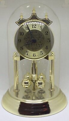 Concordia Anniversary Clock For Mantle Gold Brass With Glass Dome Vintage Works