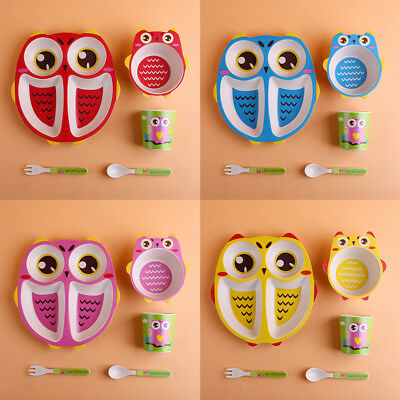 5Pcs Kids Childrens Divided Plate Bowl Cup Spoon Fork Lunch Dinner Meal Set