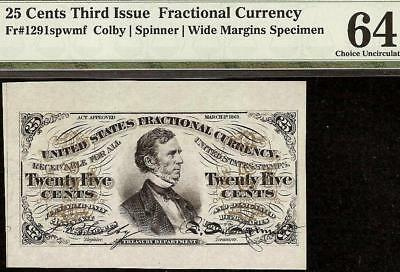 25 CENT WIDE MARGIN SPECIMEN FRACTIONAL CURRENCY NOTE Fr 1291spwmf PMG 64