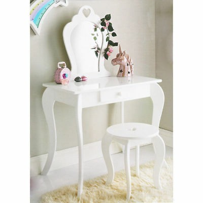 Amelia Wooden White Vanity Set Dressing Table With Mirror & Stool Gift For Kids