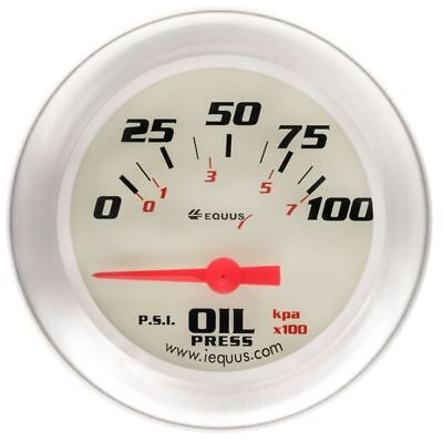 Equus 2 5/8 Inch White Faced Electrical Oil Pressure Gauge Kit Equus 8464 New