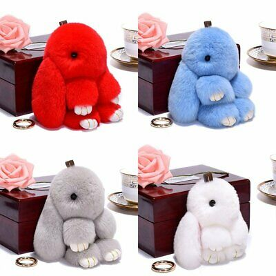 Cute Rabbit Fur Fluffy Pompom Bunny Doll Handbag Pendant Key Chain Keyring HU