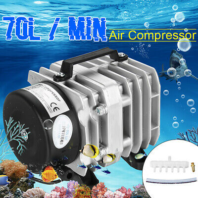 25-55W Electromagnetic Air Compressor Aquarium Oxygen Fish Pond Air Pump Aerator