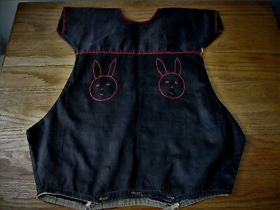 Antique Primitive Childs Romper Black Homespun Red Embroidery Bunny 1900s