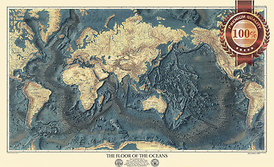 New The Floor Of The Oceans Geographical Society World Map Print Premium Poster