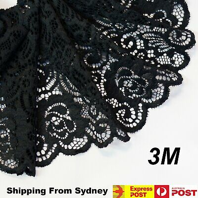 3M X 15cm Lace Fabric Black Trim DIY Craft Polyester Cotten Cloth Flower Weddin