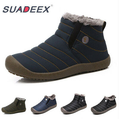 SUADEEX Womens Winter Snow Ankle Boots Fur Lined Waterproof Outdoor Cozy Shoes