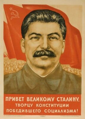 "Russian Propaganda Poster ""GREETINGS TO STALIN"" Soviet Union Communist Print"