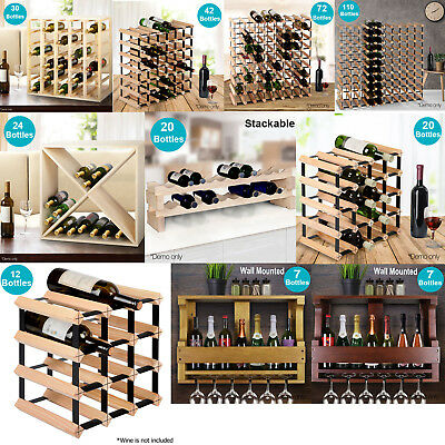7 12 20 24 30 42 72 110 Bottle Timber Wine Rack Wooden Storage Cellar Display AU