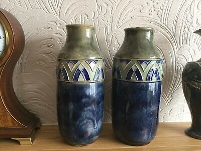Royal Doulton Lambeth Pair Of Vases Florrie Jones Art Deco