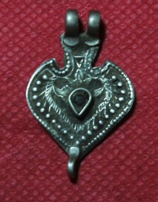 Old Tribal South Indian Goddess Silver With Gold Plated Amulet Pendant SC 05