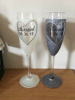 Bride And Groom Champagne Glasses Personalised Wedding Glitter Wedding Date
