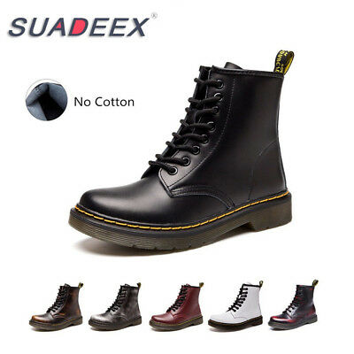 SUADEEX Womens Leather Ankle Martin Combat Boots Flat Fashion Casual Shoes