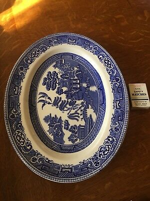 Vintage Antique Meakin Blue Willow Large Meat Plate