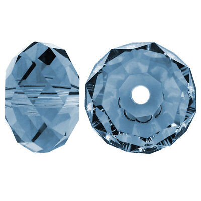 Swarovski Crystal, #5040 Rondelle Beads 6mm, 10 Pieces, Denim Blue