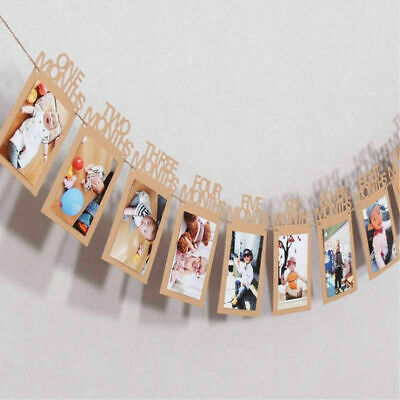 1st Birthday Recording 1-12 Month Photo Banner Garlands Monthly Bunting Decor A+