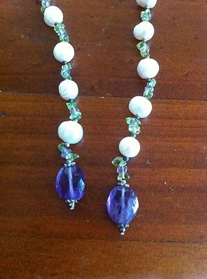 Handmade Pearl Peridot Amethyst Sterling Silver Beaded Lariat Necklace