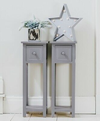 Pair of Wooden Telephone Hallway Bedside Tables Units Cabinets Grey