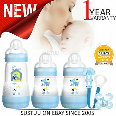 MAM Welcome to the World Newborn Gift Set [Blue]│With Anti-Colic Bottles+Soother