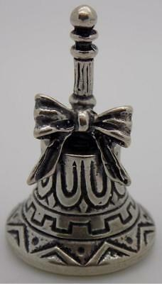 Vintage Solid Silver Italian Made Mini Bell w/t Ribbon, Nice Sound, Stamped