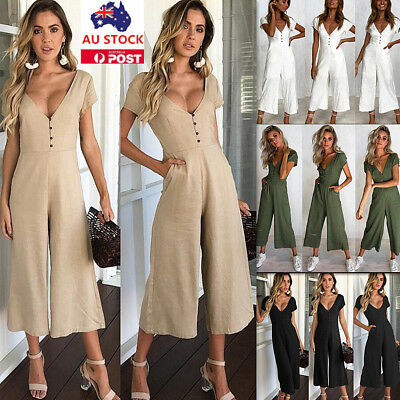 Women V Neck Button Pocket Short Sleeve Jumpsuit Summer Beach Hoilday Playsuit