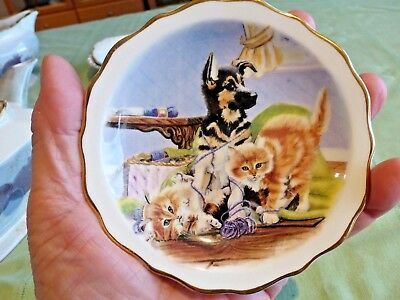 Bone China Pin Dish Staffordshire England Dog & Kittens