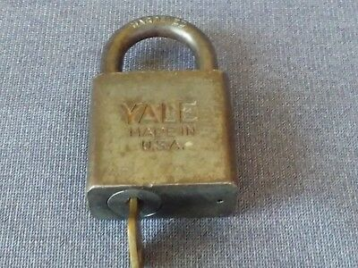 Vintage Antique Yale & Towne Mfg. Co. Hardened Steel Padlock With Original Key